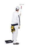 Malerlackrollenwanne auf weißem Hintergrund Lizenzfreie Stockfotografie