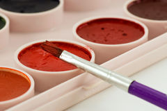 Malerpinsel auf Aquarelllacktellersegment stockfoto
