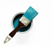 Malerpinsel auf Türkis lizenzfreies stockfoto