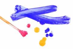 Malerpinsel und gemischter Acryllack Stockbild