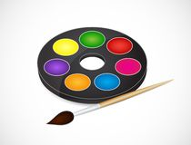 Malerpinsel und Lacke Stockfoto