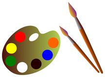 Malerpinsel und Ladeplatte Stockbilder