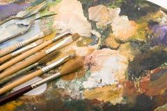 Malerpinsel und Palette Stockbilder