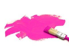 Malerpinsel und violette Farbe Stockfotografie