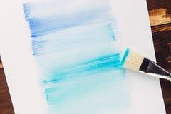 Malerpinselmalereiaquarell auf Papier Lizenzfreies Stockbild