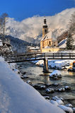 Malerwinkel Ramsau. The famous and very pitoresque Malerwinkel in the little town of Ramsau in the Berchtesgadener Alps during the first day of winter in 2013 Royalty Free Stock Images