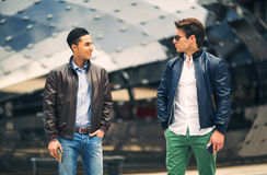 Males beautiful models outdoors. City style fashion royalty free stock images