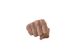 Males hand with a clenched fist. Against white background Stock Photo