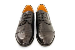 Leather males  shoes. Males  shoes on white background Stock Photos