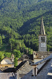 Malesco, Valle Vigezzo, Italy. Stone roofs and bell tower Royalty Free Stock Image