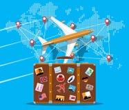 Maleta, aeroplano y mapa del mundo del viaje ilustración del vector