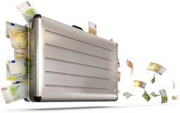 Maleta con el dinero del vuelo Foto de archivo libre de regalías