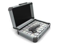 Maleta con el dinero y el arma Foto de archivo libre de regalías