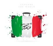 Maleta con la bandera de Italia deletreado ilustración del vector