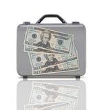 Maleta del negocio para el viaje con la reflexión y cuatro 20 dólares Imagenes de archivo