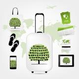Maleta del viaje con el sistema de los iconos para su diseño Imagen de archivo