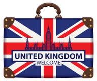 Maleta del viaje con la bandera de Gran Bretaña y de Big Ben stock de ilustración