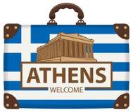 Maleta del viaje con la bandera de Grecia y de la acrópolis Stock de ilustración