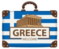 Maleta del viaje con la bandera de Grecia y de la acrópolis Libre Illustration