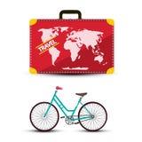 Maleta del viaje con la bicicleta aislada en el fondo blanco foto de archivo