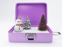 Maleta del viaje concepto de las vacaciones del invierno Foto de archivo libre de regalías