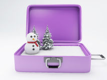 Maleta del viaje concepto de las vacaciones del invierno Imágenes de archivo libres de regalías