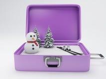 Maleta del viaje concepto de las vacaciones del invierno Fotografía de archivo libre de regalías