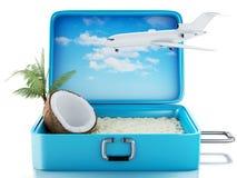 maleta del viaje de la playa del paraíso 3d Fondo blanco Fotografía de archivo