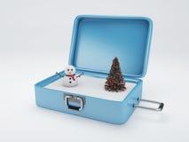 Maleta del viaje vacaciones del invierno, concepto de los días de fiesta Imagen de archivo libre de regalías