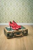 Maleta del vintage y zapatos rojos Imagenes de archivo