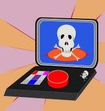 Maleta nuclear con un cráneo en la pantalla, teclado para el passwo Foto de archivo