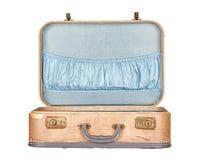 Maleta o equipaje de la vendimia abierto, aislado Imágenes de archivo libres de regalías