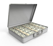 Maleta por completo de dinero Fotografía de archivo