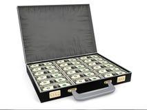 Maleta por completo de dinero Imagenes de archivo
