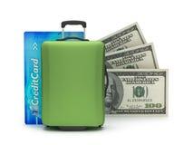 Maleta, tarjeta de crédito y billetes de dólar Imágenes de archivo libres de regalías