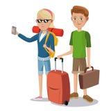 Maleta turística de las vacaciones de los pares jovenes del viaje Imagen de archivo libre de regalías