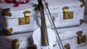 Maleta vieja y oxidada con el violín almacen de video