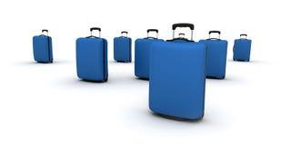 Maletas azules de la carretilla Fotografía de archivo libre de regalías