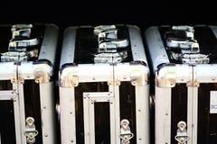 Maletas de aluminio para los objetos frágiles y el transporte de la alta seguridad Imagen de archivo libre de regalías