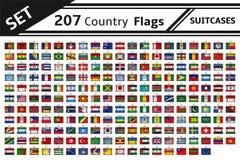 207 maletas de las banderas de país Fotos de archivo libres de regalías