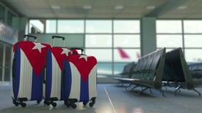 Maletas del viaje que ofrecen la bandera de Cuba Animación conceptual del turismo cubano metrajes