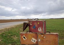 Maletas retras Foto de archivo libre de regalías