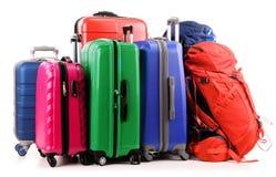 Maletas y mochila en blanco Imagen de archivo libre de regalías