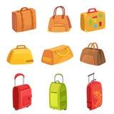 Maletas y otros bolsos del equipaje fijados de iconos Fotografía de archivo