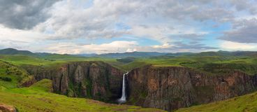 Maletsunyane Falls Panorama. In Lesotho Royalty Free Stock Photography