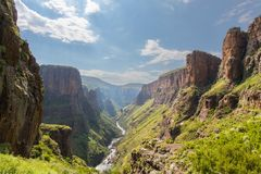 Maletsunyane River valley. In Lesotho Royalty Free Stock Photo
