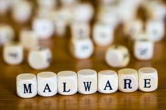 Maleware escrito com cubos de madeira foto de stock