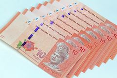 Malezja banknotu bielu tło Fotografia Stock