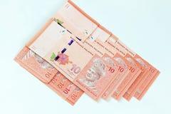 Malezja banknotu bielu tło Zdjęcie Royalty Free