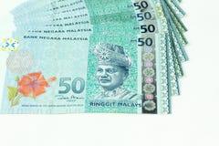 Malezja banknotu odosobniony biały tło Obrazy Royalty Free